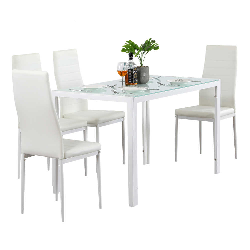 5 Piece Dining Set Glasstable And 4 Leather Chair For Kitchen