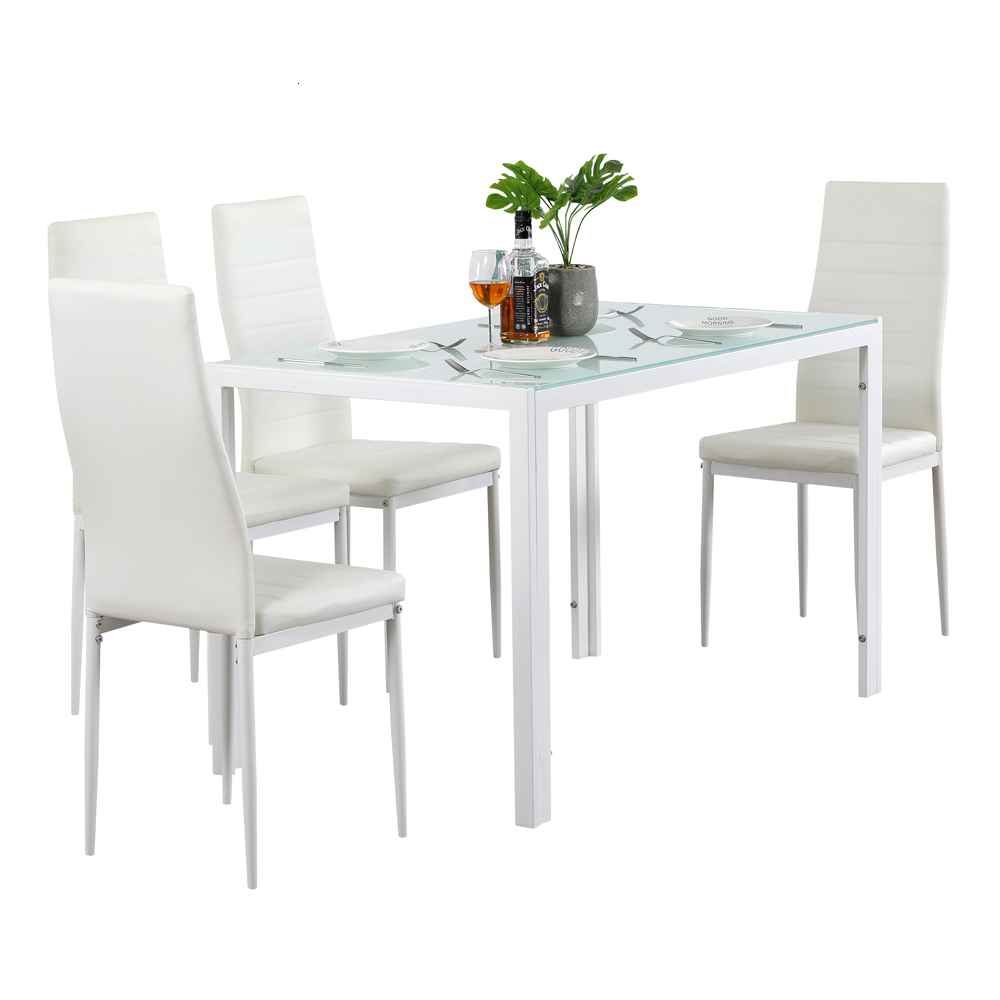 5 Piece Dining Set GlassTable And 4 Leather Chair For Kitchen Dining White Tempered Glass & Iron Tube Material Dinning Table Set