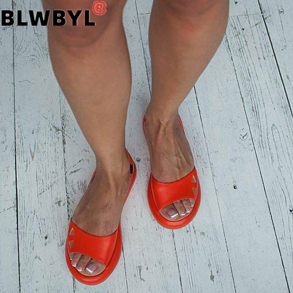 Women's 2019 Fashion Lady Summer Sandal Women Flats Shoes Leather Flats Casual Open-toed Shoes Fashion Solid Outdoor Sandals