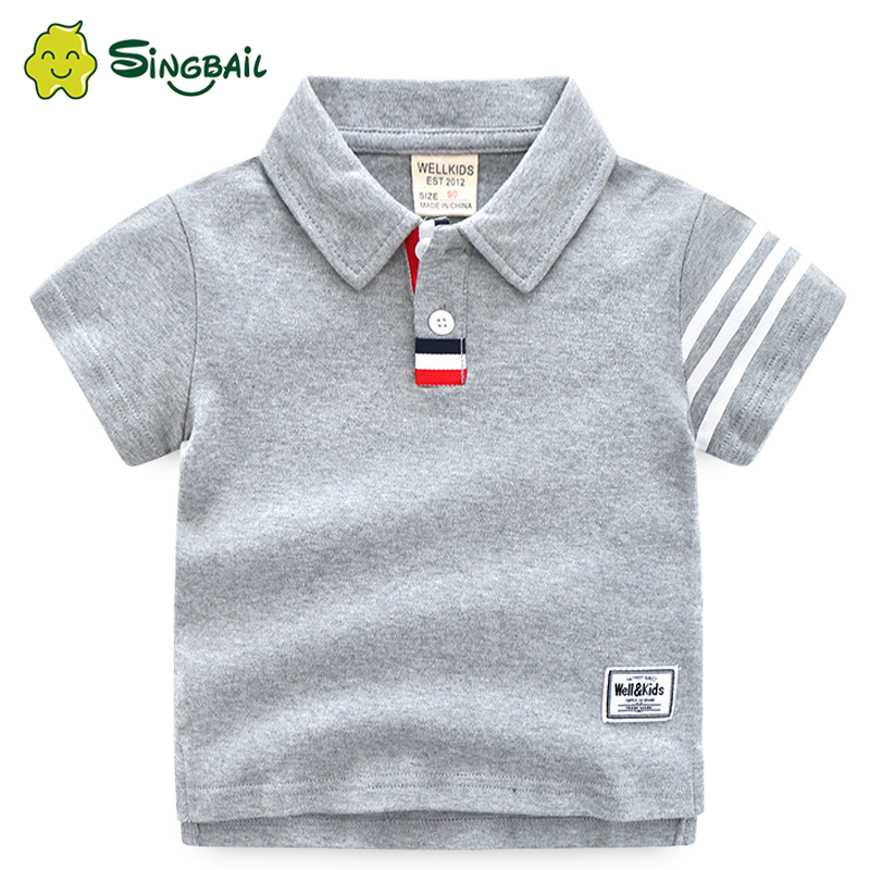 SINGBAIL Baby Casual T-Shirt 2020 Summer New Boy Children'S Clothing Children'S Lapel Short Sleeve Boys Clothes Kids T Shirt image