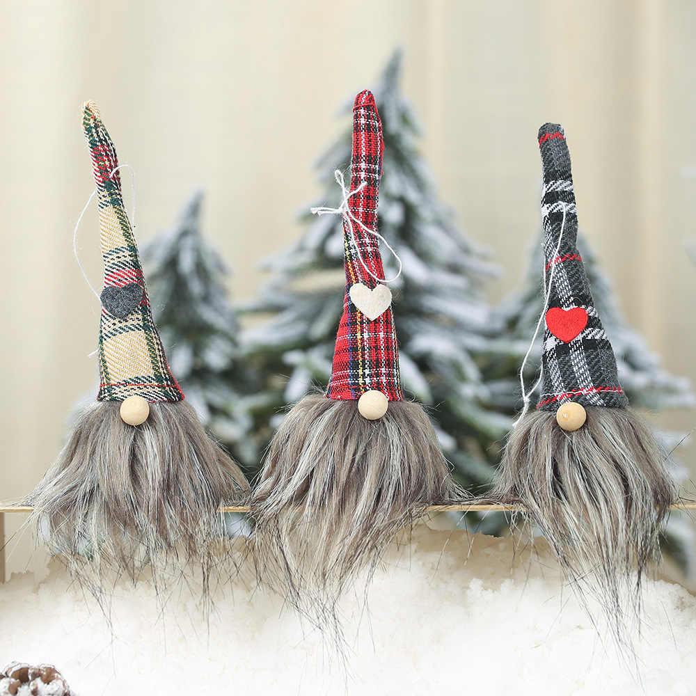 2019 クリスマス新製品チェック柄顔のない人形ペンダントクリエイティブクリスマスの森老人小さなブレスレットチャーム