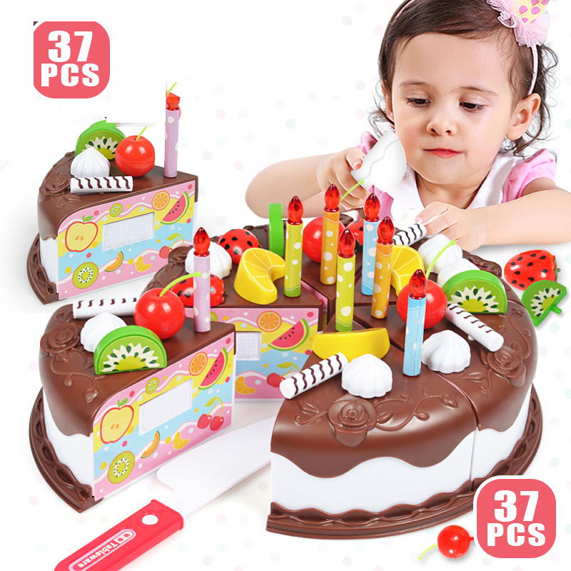 Kid DIY Birthday Cake Toy 37 Pcs/Set Plastic Chocolate Cutting Fruit Food Pretend Play Toys Set Safe Cute Children Girl Toy Gift