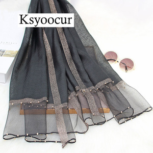 Image 2 - Size 180*90cm 2020 New Silk Scarves Beach Towel Scarf Female Four Seasons Shawls and Scarves Women Scarf Brand Ksyoocur E11