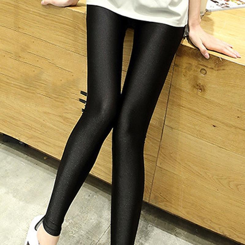 2019 New Spring Solid Black Nylon Leggings For Women High Stretched Female Legging Girl Clothing Leggings Plus Size