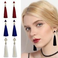 Lange Quaste Ohrringe für Frauen Schwarz Rot Weiß Blau Dreieck Vintage Hängen Fringe Ohrring Ethnische Schmuck Boho Stil