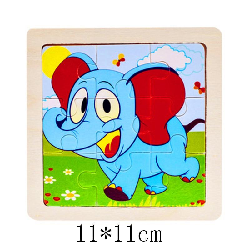 3D деревянные головоломки, игрушки для детей, Деревянные 3d Мультяшные головоломки с животными, интеллектуальные детские развивающие игрушки для детей - Цвет: Сиренево-синего цвета