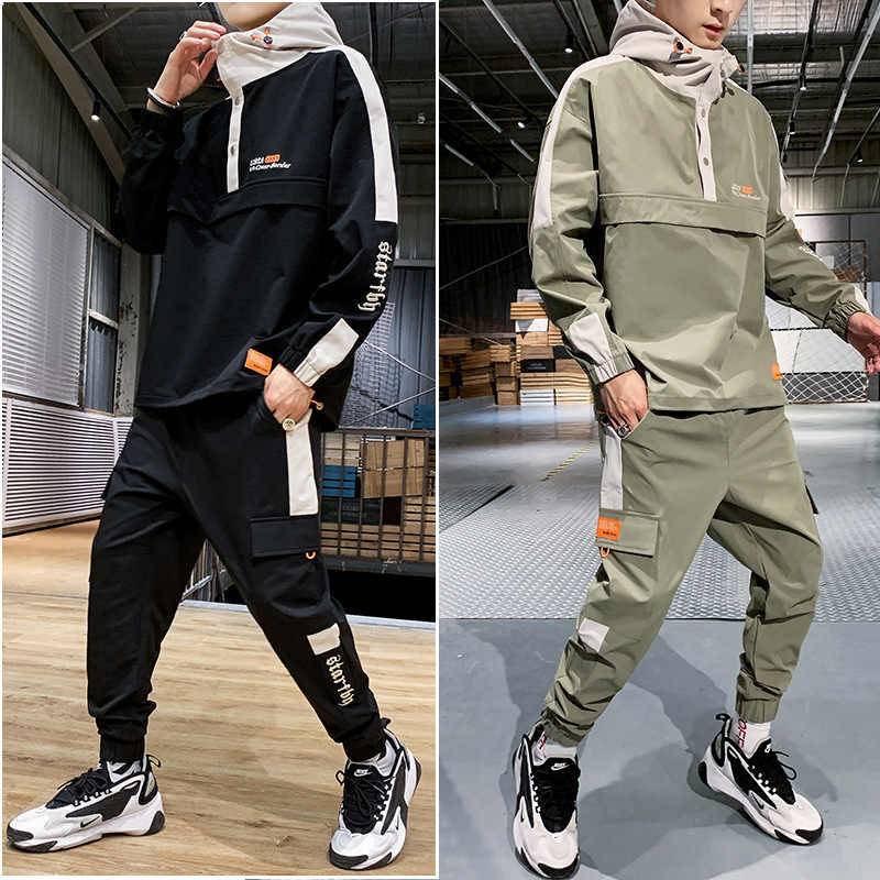 Nieuwe Mannen Trainingspak Herfst/Winter Man Tweedelige Set Zweet Pak Polyester Overalls Koreaanse Leisure Suit Plus size Hoodies/Harlan