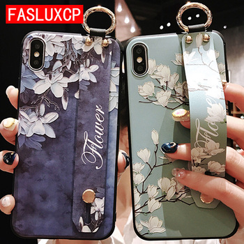 For iPhone 11 Case Fashion Flower Phone Holder Case for iPhone 8 Plus 6 6s 7 X XR XS 11 pro max Soft TPU Wrist Strap Cover Etui 2