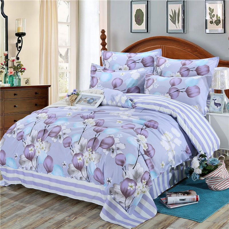 Flower Plant Printed 4pcs Girl Boy Kid Bed Cover Set Cartoon Duvet Cover Bed Sheets And Pillowcases Comforter Bedding Set 61002
