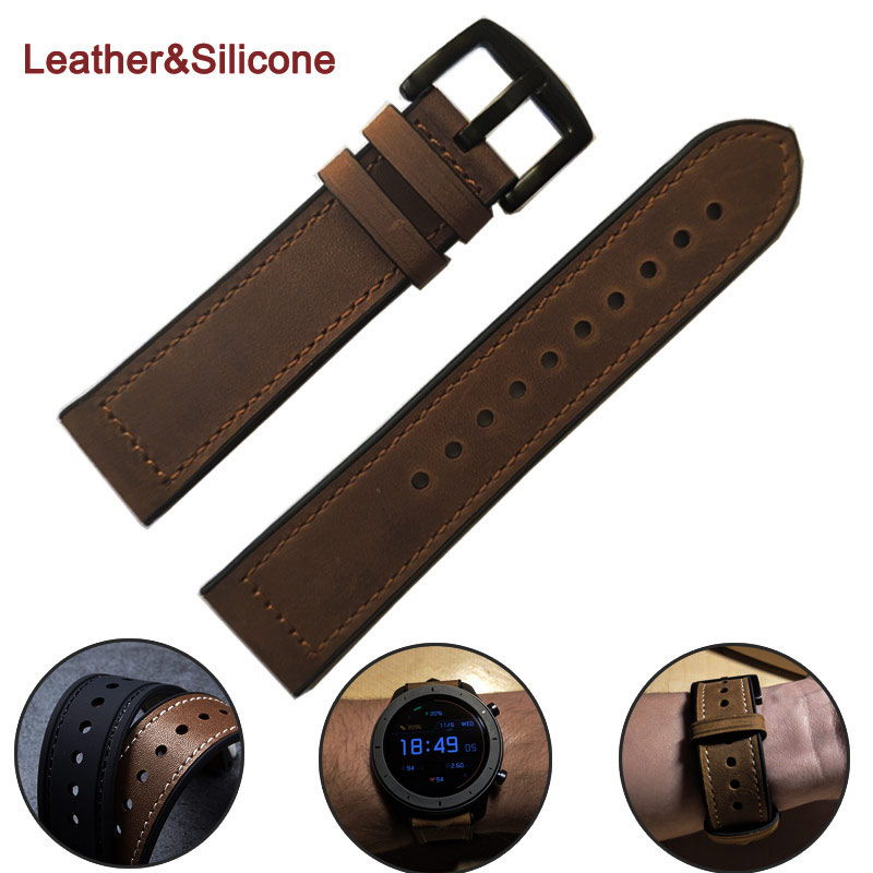 22mm Quick Fit Genuine Leather & Silicone WatchBand For Amazfit Huawei Samsung Galaxy Watch 46mm Gear S3 Strap Replacement Bands