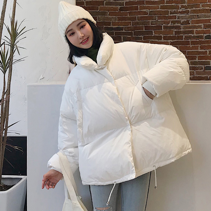 KMVEXO 2019 New Arrival Women Winter Jacket Korean Style Stand Collar Breasted Buttons Female Outwear Coat Fashion Short Parka in Parkas from Women 39 s Clothing