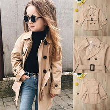 Fashion New Toddler Baby Girl Belted Trench Coat Windbreaker Jacket Outwear