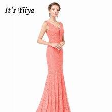 Its Yiiya Bridesmaid Dress Sleeveless Lace Floor-Length Vestido Madrinha C484 Elegant Custom Color Mermaid Bridesmaid Dresses.