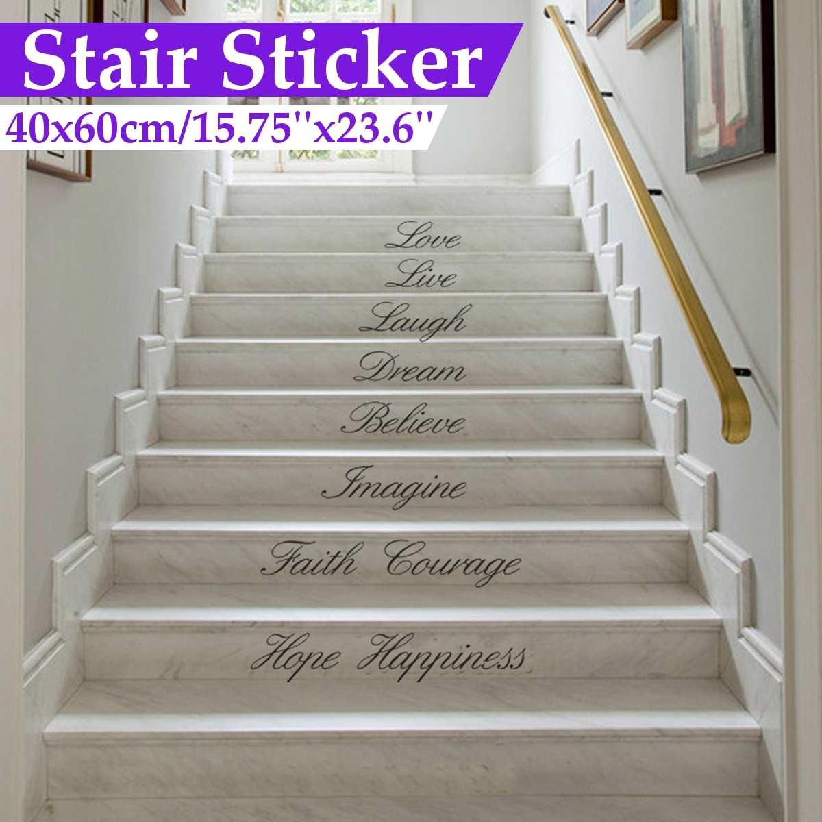 Bricolage Sticke escalier Stickers muraux décalcomanie décor à la maison amour vivre rire rêve croire imaginer foi Courage espoir bonheur