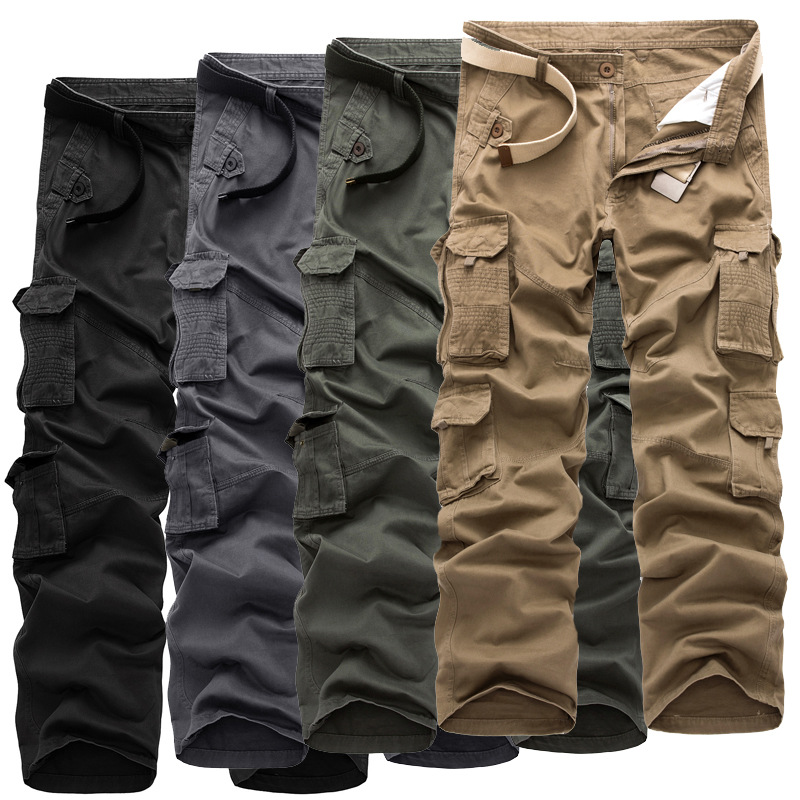 2017 Men Outdoor Multi-pockets Casual Pure Cotton Large Size Workwear Camouflage Trousers