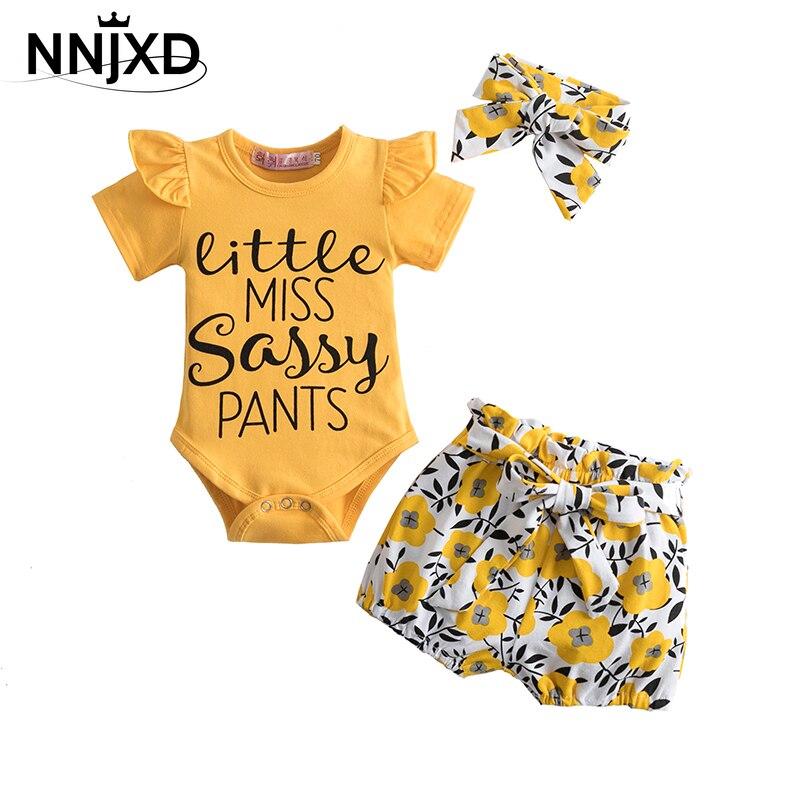 Neugeborenen Mädchen Kleidung Infant Baby Mädchen Sets Brief Romper + Blume Drucken Hosen + Haarband Baby Mädchen Outfits 0-24M Baby Ensemble Fille