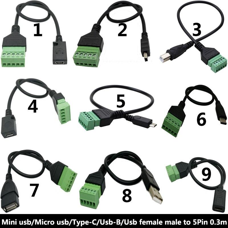 USB 2,0 Женский B Micro usb mini usb type-C Мужской до 5 Pin женский болт винтовой разъем с экранированной клеммой Кабель-адаптер 1 фут