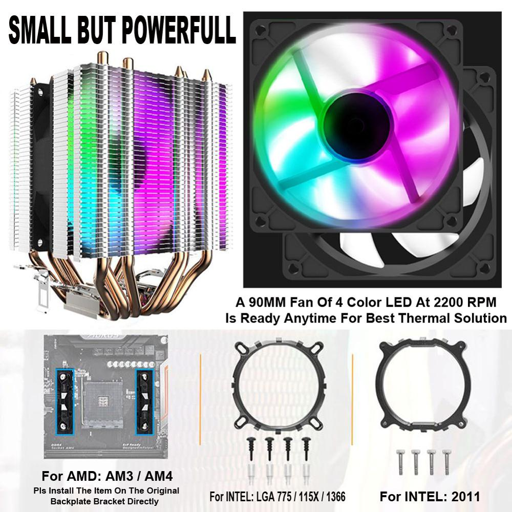 CPU Cooler 6 Heat Pipes Heatsink With 90mm Rainbow LED Fan 3pin Computer CPU Cooling For LGA/2011/775/115x/AM4