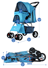 Outdoor Pet Cart Dog Cat Carrier Pet Stroller  Multicolor Oxford Cloth Steel Pipe High-intensity  4-wheels One-key Folding