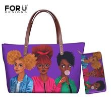 FORUDESIGNS Women Bags Handbags 2021 Famous Brands African Beach Bag Bolsa Feminina Afro Black Girls Tote Bags PU leather Purse