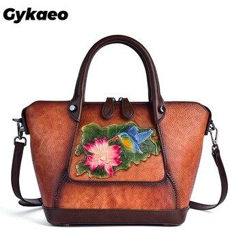 Gykaeo New Luxury Handbags Women Bags Designer Vintage Floral Genuine Leather Handbag Retro Embossed Large Capacity Shoulder Bag