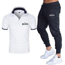 2021 Men's New Casual Tops European and American Men's Quick-drying Pure Cotton Printed Slim Business Poio Short Sleeve Boss Sui