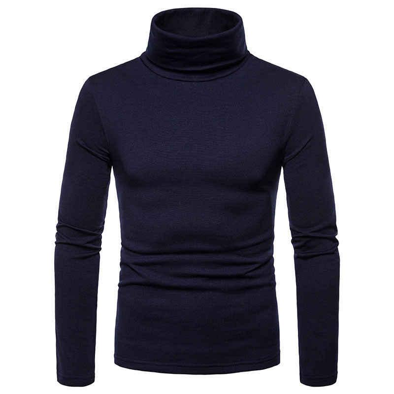Nueva ropa de calle para hombres de invierno cálido de algodón de cuello alto Jersey camisetas de cuello alto de moda para hombres