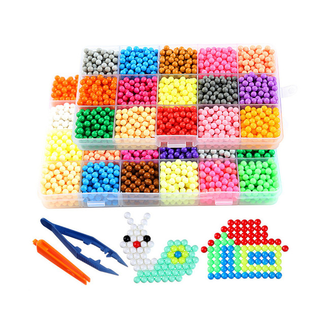 1000pcs/set Puzzle Water Magic Aqua Beads Mist Bean Educational Kids Toy DIY Spray Sprinkles Sticky Children Beads Toys Gift