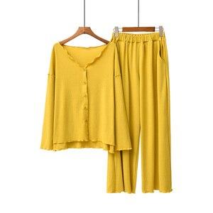 Image 5 - 2020 jesień nowe panie piżamy zestaw komfort jednolity kolor kobiety Sexy dekolt w serek z Homewear 2 sztuk z długim rękawem + spodnie odzież na co dzień