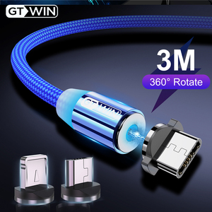 GTWIN Magnetic Cable Micro USB Type C Charger For iPhone Samsung Xiaomi 3M Magnet USB Cable Fast Charging Phone Charge Cord Wire