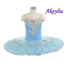Pre Professional Ballet Tutu Light Blue Gold Adult Women Shape Performance Ballet Tutu Dress Professional Ballet Stage Costume