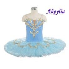 Professionele Ballet Tutu Lichtblauw Goud Volwassen Vrouwen Vorm Prestaties Ballet Tutu Jurk Professionele Ballet Toneelkostuum