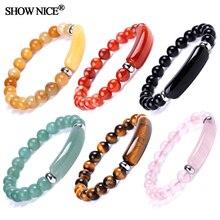 Bracelet Fashion Tiger-Eye Bangles Jewelry Charm Onyx Natural-Stone Black Women Quartz