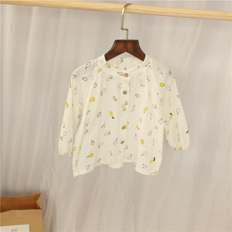 2018 Girls Autumn Clothing Long Sleeve Shirt Pure Cotton Western Style Sweater 2018 New Style Childrenswear Children Floral Whit