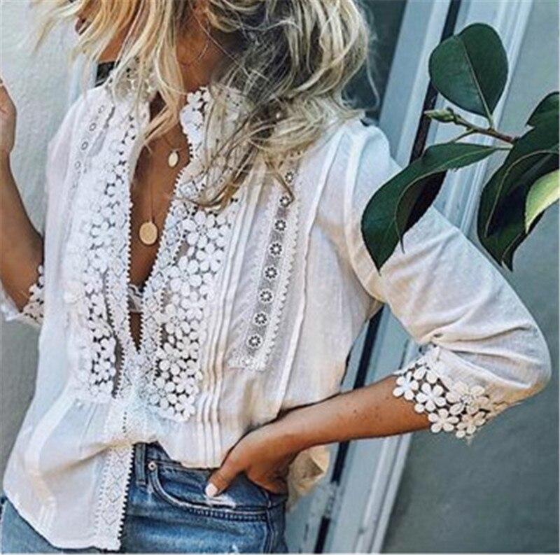 Women Boho Long Sleeve Floral Lace White Tops Blou