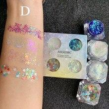 Loose Powder Pigment Shining Makeup 4 Color Sequin Eyeshadow Gel Waterproof Long-lasting Glitter Eye shadow Palette of Shadows