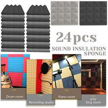 24 pces studio 250x250mm espuma acústica prova de som esponja protetora tratamento absorção à prova de som acessórios do painel # t1g