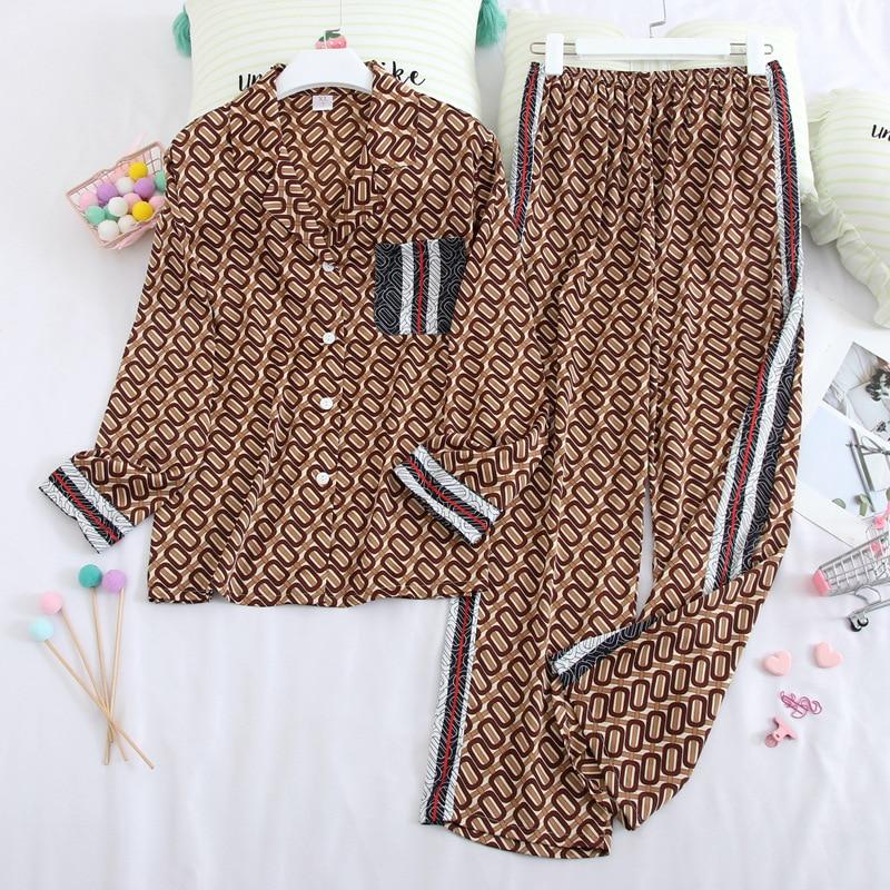 Fiklyc Long-Sleeved Pajamas Spring Silk Lapel Home Service Ladies Cartoon Cardigan Two-Piece Suit Thin Section