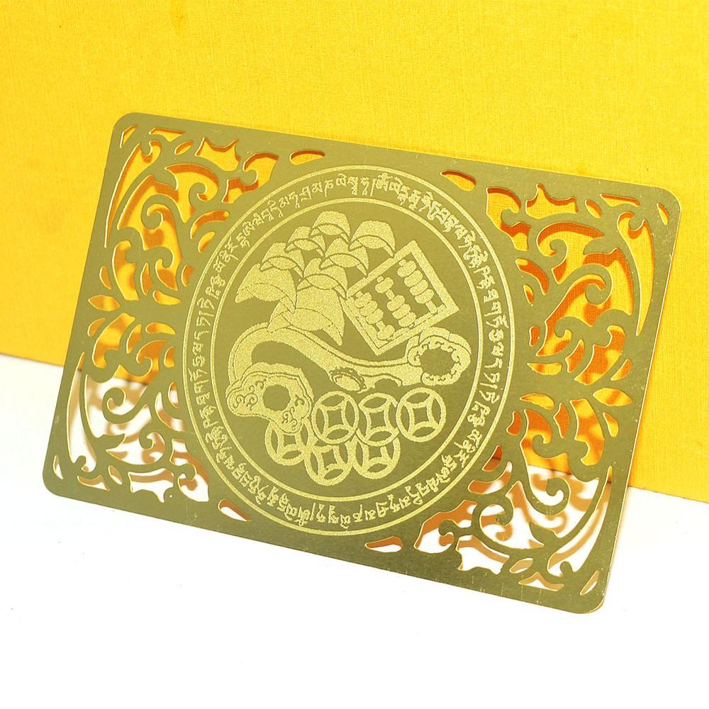 Ev ve Bahçe'ten Heykelcikler ve Minyatürler'de Feng Shui servet getiriyor Mongoose altın tılsım kartı W4124 title=