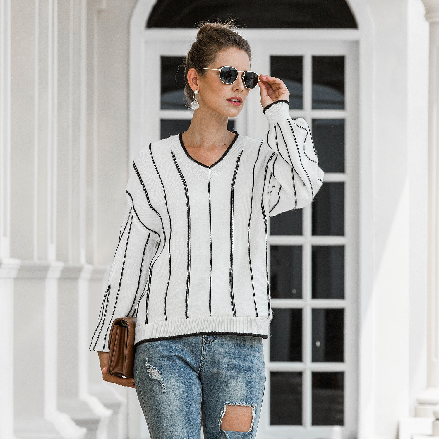 V Neck Loose Women Sweater Autumn Winter Knitted Pullover Casual Lantern Sleeve Striped Sweater Female Jumper 2020 Ropa Mujer