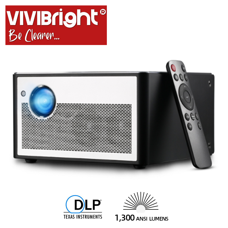 Projecteur intelligent VIVIBRIGHT H1, 1300 ANSI Lumens. Mémoire: 2G + 16G. Android, WIFI, HD in. MINI projecteur LED. Cinéma maison 1080P