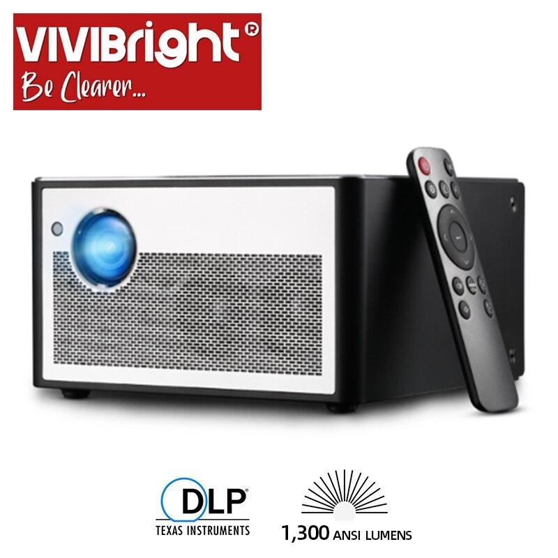 VIVIBRIGHT Proiettore Intelligente H1, 1300 ANSI Lumen. Memoria: 2G + 16G. Android, WIFI, HD in. MINI Proiettore A LED. 1080P del Teatro Domestico