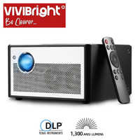 VIVIBRIGHT Smart Projector H1,1300 ANSI Lumens. Memory: 2G+16G. Android, WIFI, HD in. MINI LED Projector. 1080P Home Theater