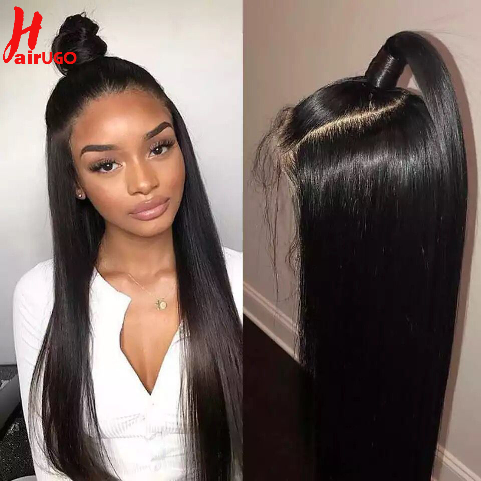 HairUGo Straight Lace Front Wig Remy 13x4 Lace Frontal Wig Brazilian 150% Density Lace Front Human Hair Wig Pre Plucked Hairline