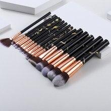 Ensemble de pinceaux de maquillage marbré, 5/8/10/15 pièces, brosse de contrôle des bords, ombre à paupières, fond de teint, poudre, cosmétique, beauté