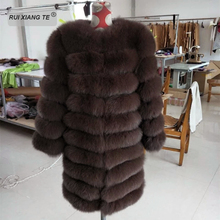 women real fur coat warm winter natural fox jacket luxury genuine sleeves dismantle for