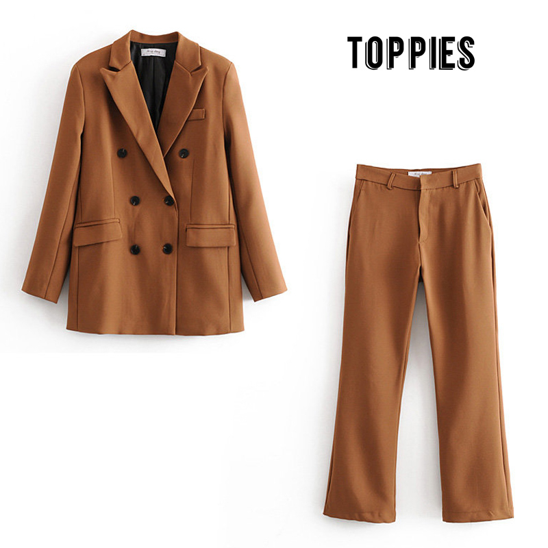 Женский деловой костюм, двубортный пиджак, пиджак для работы, весна 2020|Брючные костюмы|   | АлиЭкспресс