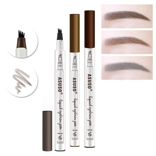 Hot Sale Microblading Eyebrow Tattoo Pen Waterproof Eye Makeup 3 Colors Easy Use Eyebrow Pen Deep Color Pencil Eyebrow Durable 1