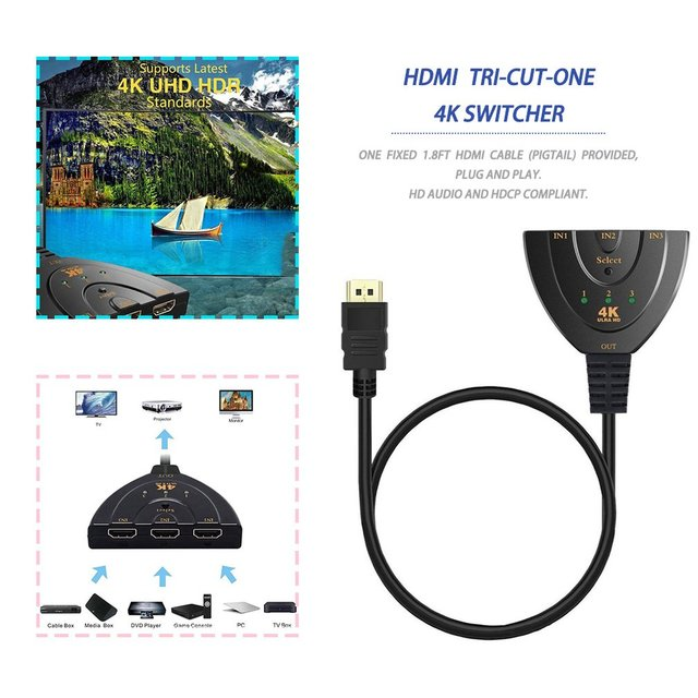 3 Port HDMI Splitter Mini Adapter Cable 1.4b 4K*2K 1080P Switcher HDMI Switch 3 in 1 out Port Hub for HDTV Xbox PS3 PS4 DVD HDTV