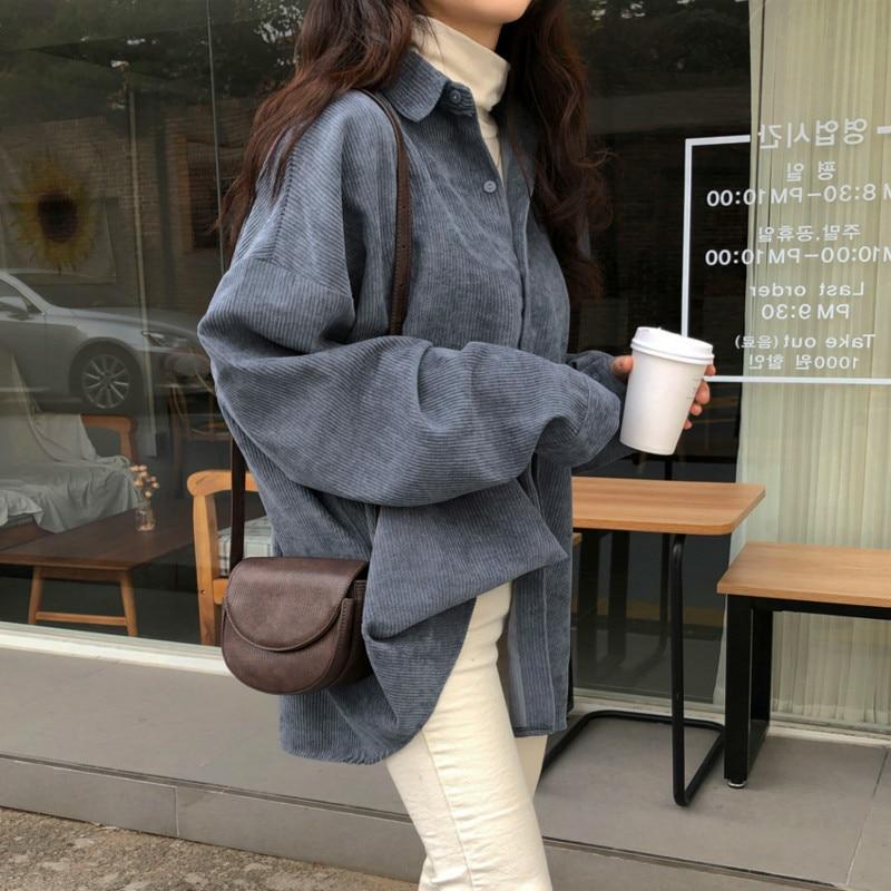 Femmes automne à manches longues bleu velours côtelé chemise manteau hauts Blouses Blusa Blusas Mujer mince Haut Femme décontracté Bluzki Damskie